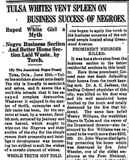 Black Wall street Newspaper